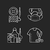 Clothing alteration chalk white icons set on black background
