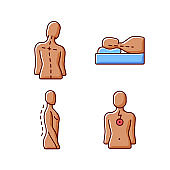 Postural dysfunction RGB color icons set