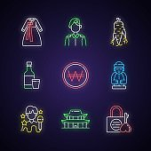 Culture of Korea neon light icons set