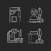 Clothing alteration service chalk white icons set on black background