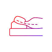 Sleeping with head elevated gradient linear vector icon