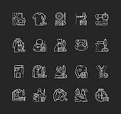 Clothing alteration and repair services chalk white icons set on black background