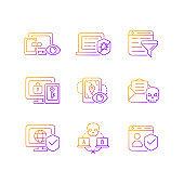 Internet surveillance gradient linear vector icons set
