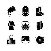 Medical disposable covers black glyph icons set on white space