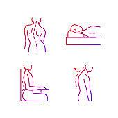 Poor posture problems gradient linear vector icons set