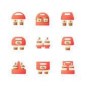 Coffee menu to go vector flat color icon set