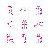 Back and posture problems gradient linear vector icons set