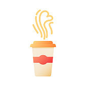 Takeout coffee vector flat color icon