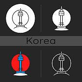 N Seoul tower dark theme icon