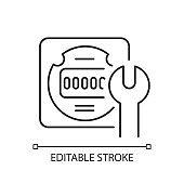 Electrical meter repair linear icon