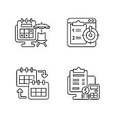 Remote work trackers linear icons set