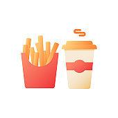 Takeaway menu vector flat color icon