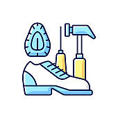Shoe repair and reconditioning RGB color icon