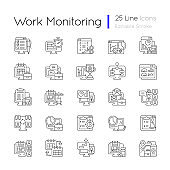 Work monitoring linear icons set