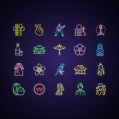 Korea neon light icons set