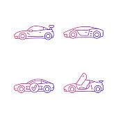 Race car models gradient linear vector icons set