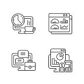 Work tracking linear icons set