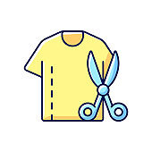 Resizing clothes RGB color icon