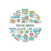 Social media abstract color concept layout with headline