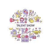 Talent show abstract color concept layout with headline