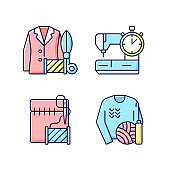 Outfit repair services RGB color icons set