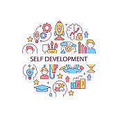 Self development abstract color concept layout with headline