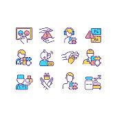 Neurodevelopmental disorders RGB color icons set