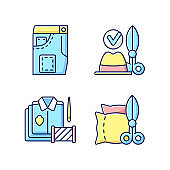 Clothing alteration service RGB color icons set