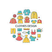 Clothes design abstract color concept layout with headline