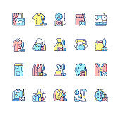 Clothing alteration and repair services RGB color icons set