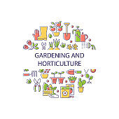 Gardening and horticulture abstract color concept layout with headline
