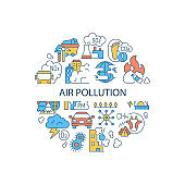 Air pollution abstract color concept layout with headline