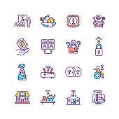 Digital inclusion RGB color icons set