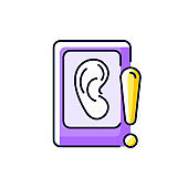 Eavesdropping on mobile devices purple RGB color icon
