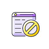 Website blocking purple RGB color icon