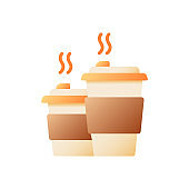 Tea takeout vector flat color icon