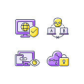 Internet privacy purple RGB color icons set