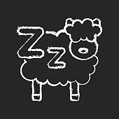 Counting sheeps chalk white icon on black background