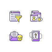 Network surveillance purple RGB color icons set