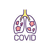 Lungs affected by coronavirus RGB color icon