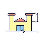 Parapet walls minimum height RGB color icon