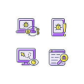 Internet censorship purple RGB color icons set