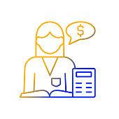 Accountant gradient linear vector icon