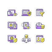 Internet surveillance purple RGB color icons set
