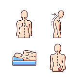 Poor posture problems RGB color icons set