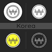 Korean won dark theme icon