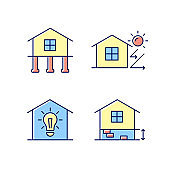 Residential building RGB color icons set
