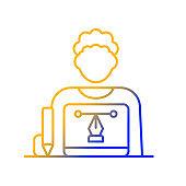 Graphic designer gradient linear vector icon