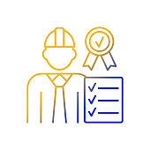 Quality control manager gradient linear vector icon