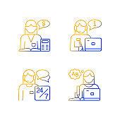 Female assistant gradient linear vector icons set